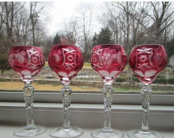 STORE WIDE SALE Hungarian Crystal  Ajka Marsala Cordials Cranberry Pink [Din]