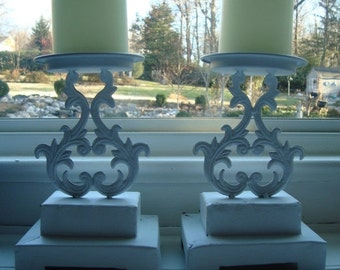 STORE WIDE SALE Two Upcycled Ornate Candle Holders - French Country Shabby Chic [C]