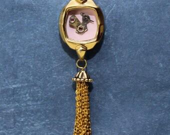 Tiny Bird in vintage watch case with gold tassel #BB45