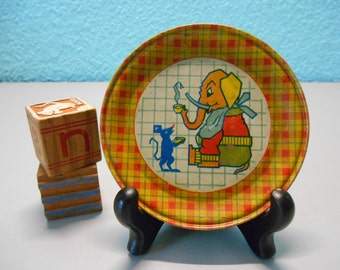 Child's Toy dishes, Collectible toys, Vintage toy dishes, Pretend play, Elephants and mice, Child's dishes, tea set