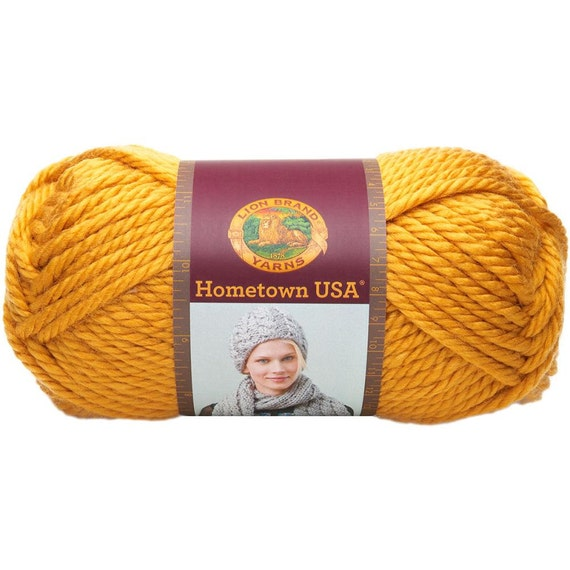 Lion Brand Hometown USA Chunky Yarn in Madison Mustard from kayscrochetpatter...