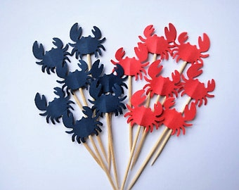 Crabs Cupcake Toppers - Toothpicks Cupcake Toppers, Food Picks