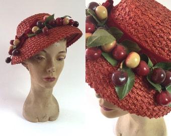 red 1940s cherry hat/ 1940s hat /red hat /cherry bauble hat /red raffia hat