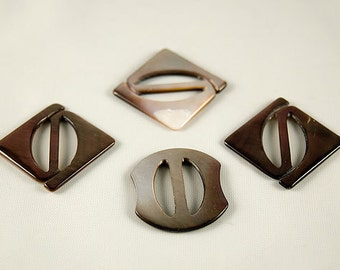 Lot of Four Dark Brown Abalone Shell Vintage Belt Buckles