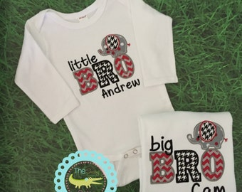 Alabama-themed Big Brother Little Brother Set, Matching Brother Shirts,Crimson Personalized Sibling Outfits