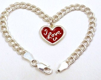 "Sterling Silver ""I Love U"" Heart Charm on a Sterling Silver Double Link Traditional Charm Bracelet - 2409"