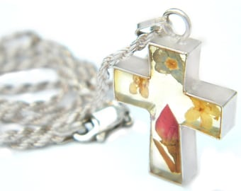 Sterling Flower Power Cross Necklace Vintage Italy Jewelry Collectible 925 Sterling Pressed Flower Cross 1970s Flower Power Religious