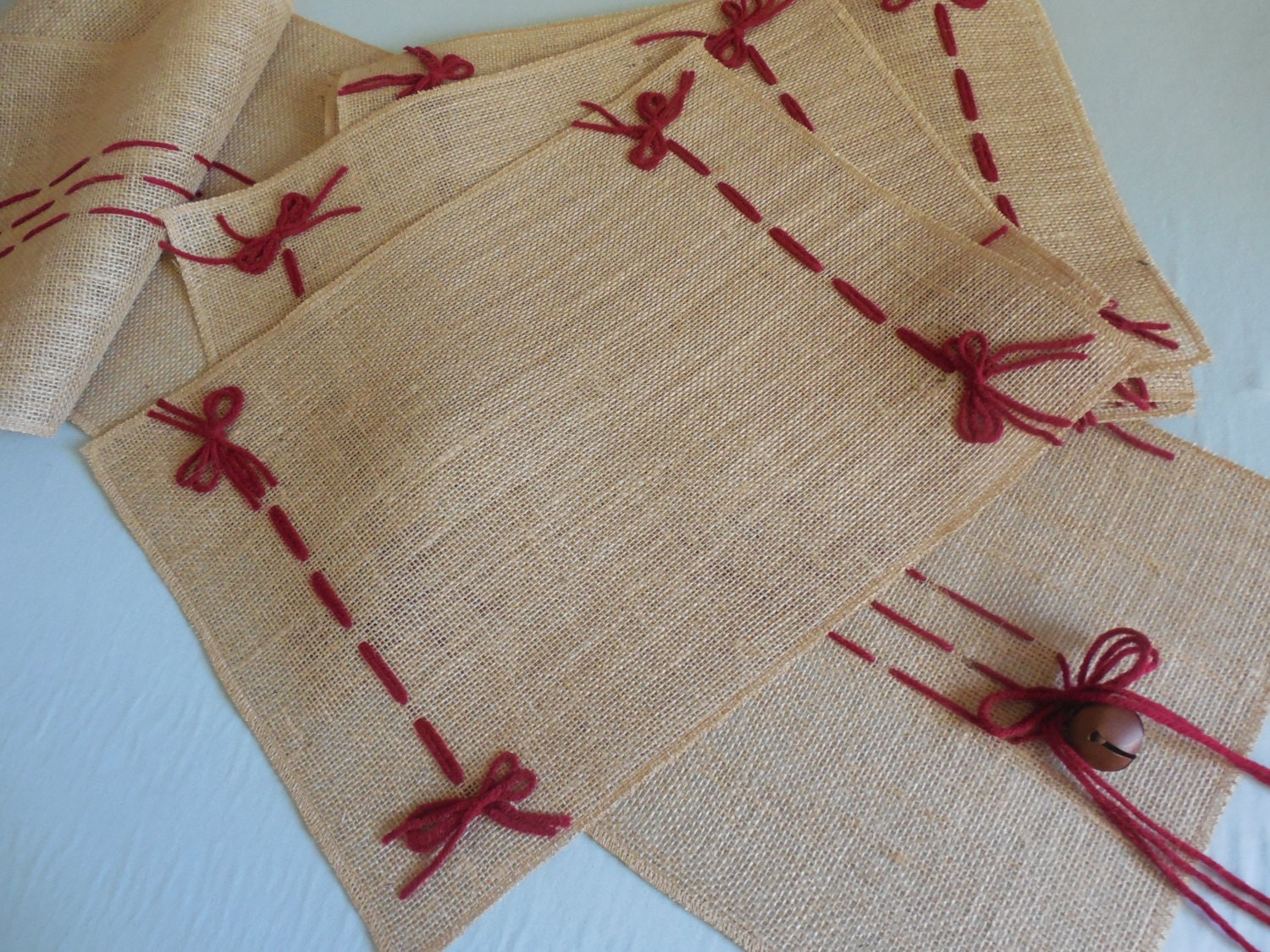 Burlap Place Mats Rustic Christmas Table Decor With Barn Red