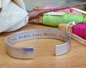 Mens Personalised Cuff bracelet personalised unisex bangle daddy copper brass aluminium