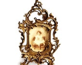 SALE Antique French Bronze Picture Frame ,Antique bronze table frame, Rococo Ornate Gold Frame
