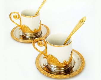 Vintage Italian Espresso Coffee Serving Set , romantic coffee set for two , Two Golden Cups with Holders and spoons ,vintage tableware