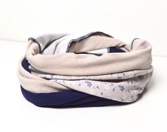 Patchwork scarf neckerchief blue beige cotton jersey material neckcloth loop flower