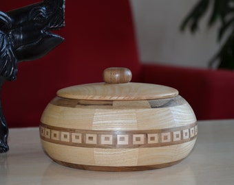 Lidded Segmented Wood Bowl / Jewelry / Candy Wooden Box / Best Wedding Gift for Her