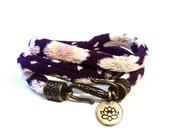 Wrap Bracelet, Lotus Bracelet, Yoga Jewelry, Gifts for her, Japanese, Fabric, Namaste, Wrist Wrap, Stocking Stuffer, Teen Gift Idea, Gifts