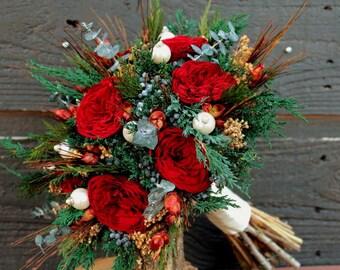 Elegant Preserved Burgundy Red Rose Winter Wedding Bouquet, Winter Wedding Bridal Bouquet, Dried Flower Brides Bouquet & Grooms Boutonniere