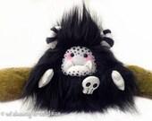 """Halloween plush yeti artist bear, halloween monster, black gothic monster plush, black and white, halloween decor, skull brooch """"Boo"""""""
