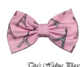 Pink Paris Hair Bow, Cotton Fabric Hair Bow, Girls Hair Bow, Handmade Fabric Hair Bow, Big Bow, Kawaii Bows, Baby Bow Clips, Bow Tie Clip