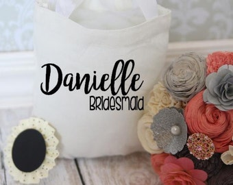Wedding party favor canvas favor / gift  tote bags with bridal party roles flower girl, bridesmaid, maid of honor, mother of the bride