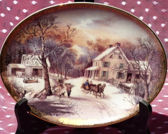"1995  Currier and Ives Christmas ""American Homestead Winter"" Oval Collector Plate/ No COA"