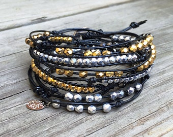 Beaded Leather Wrap Bracelet 3 or 4 Wrap with Gold Silver Bronze Glass Beads on Genuine Black Leather