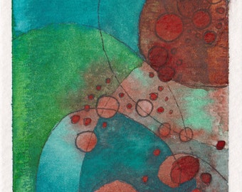 """ACEO Original Abstract Watercolor Painting on Paper 2.5""""x3.5"""" Ocean Blue, Green, Rust, Unframed"""