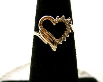 Solid 14K Yellow Gold HEART Ring diamond accent circa 1970