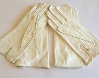 Womens White Leather Driving Gloves Lot of 2 Size 6 Made in USA Deer Skin, White Wedding gloves