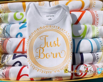 Just Born Newborn Infant Baby Onesie, Bodysuit, Shirt, Top for Girls and Boys - New Mom Gift, Unhique Baby Shower Gift Add On