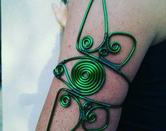 Ingress Enlightened wire wrap armband, ingress jewelry, gamer jewelry