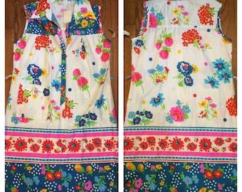 flower dress sleeveless shirt dress 70s hippy boho casual style womans large xlarge vintage summer