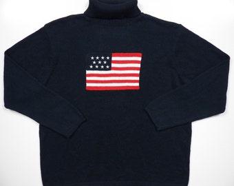 polo ralph lauren style mens xl navy blue knit turtleneck winter pullover sweater cotton rayon american usa flag logo vintage rare patriotic
