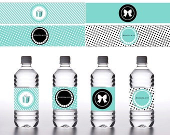 Breakfast at Tiffany's Water Bottle Label- PERSONALIZED - .jpeg & .pdf files only - Email Delivery - You Print