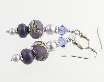 Lavender and Purple Beaded Crystal Lampwork Earrings, Fashion Accessories, Fashion Jewelry, Lampwork Jewelry, Gift, Career Wear