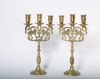 Brass Candelabras Lion Motif Set of 2 New York Brass 1890s