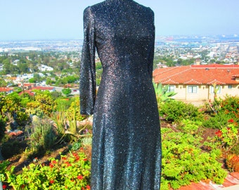 "Sparkling Vintage 1970's Disco Era Full Length Black/Silver  Lurex Dress Open Back Rhinestones  ""She's a Brick House"""