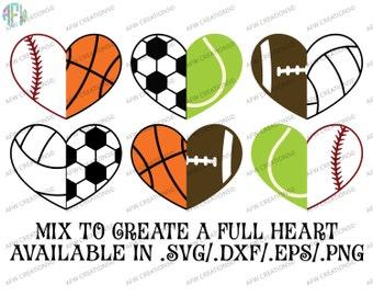 Digital Cut File, Half Sports Hearts, SVG, DXF, EPS, Baseball, Basekatball, Soccer, Football, Volleyball, Tennis, Silhouette, Cricut