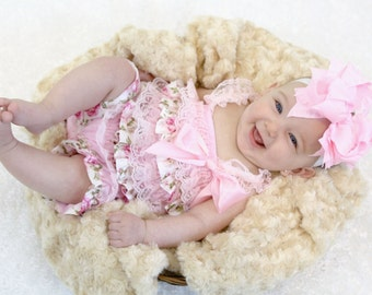 Pink Floral Satin & Lace Petti Romper, Lace Romper, Petti Romper, First Birthday Outfit, Baby Romper, Baby Outfit
