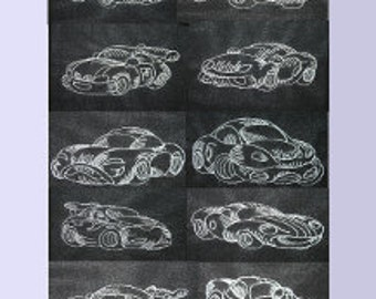 Cars Set of 10  Digitized Machine Embroidery Design Cars Race Car