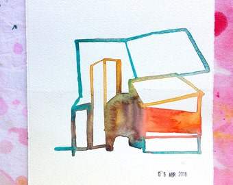 Small abstract watercolor studies on architecture. Study n.6