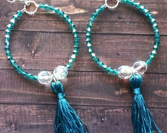 Turquoise and Crystal Tassel Earrings
