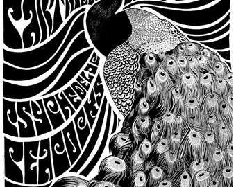 Psychedelic poster by Darren Grealish - Black and white version