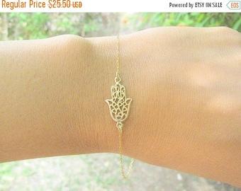 Sale - Hamsa bracelet - Gold hamsa bracelet - Gold bracelet, Dainty hamsa bracelet - Evil eye bracelet