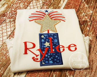 Patriotic Fireworks Firecracker Applique shirt - Customizable -  Infant to Youth