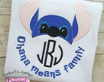 Ohana Means Family Stitch Inspired Monogram Tiara with Phrase - Custom Tee 2016