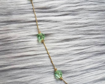 Long Beautiful Green Helix Beads Boho Knotted Necklace