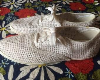 Vintage shoes | 1980s Liz Claiborne white mesh Keds-style lace up sneakers, US 8-8.5