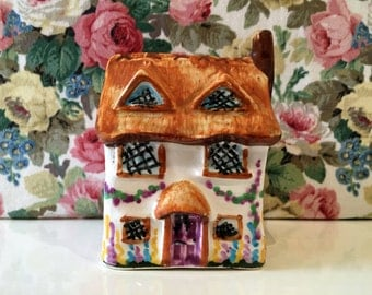 Vintage Thatched Cottage China Money Box Kitsch Pretty