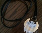 Selene - Quartz Crystals & Brass Crescent MoonLeather Pendant Necklace - Witch, Goth, Black