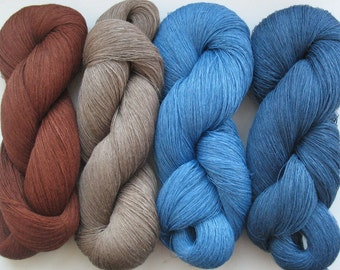 Linen Yarn blue azure Brown 400 gr (14 oz ), Cobweb / 1 ply, each hank contains approximately 3000 yds
