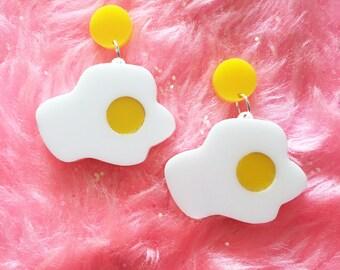 big fried egg earrings